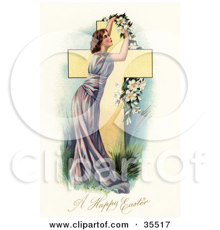 Clipart Illustration of a Stunning Victorian Woman In A Purple Gown, Placing A Garland Of Easter Lilies Over A Cross by OldPixels