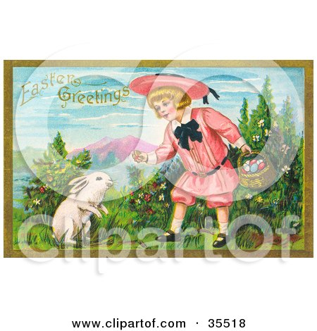 Clipart Illustration of a Little Blond Victorian Girl Bending Down To Give A White Bunny An Easter Egg by OldPixels