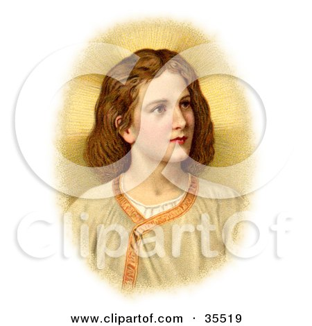 Clipart Illustration of a Victorian Portraint Of The Christ Child Looking To The Right by OldPixels