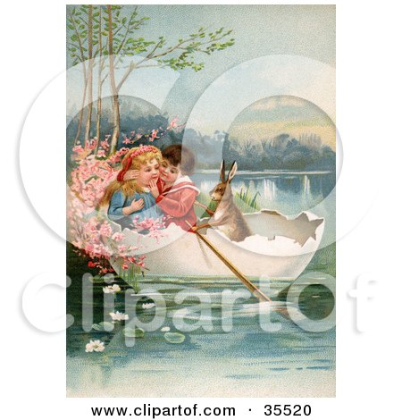 Clipart Illustration of a Victorian Boy And Girl Floating In An Egg Shell Boat With A Rabbit On Easter by OldPixels
