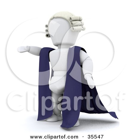 Clipart Illustration of a 3d White Character Barrister In A Cape And Wig, Standing With One Arm Out by KJ Pargeter