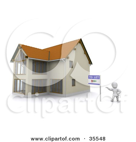 Clipart Illustration of a 3d White Character Standing Beside A To Let Rental Sign And A New Home by KJ Pargeter
