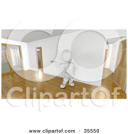 Clipart Illustration of a 3d White Character Realtor Leading A Tour Through An Empty Home With Wooden Floors by KJ Pargeter