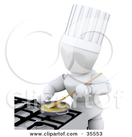 Clipart Illustration of a 3d White Character Breakfast Chef Cooking Eggs In A Frying Pan On A Gas Kitchen Stove by KJ Pargeter