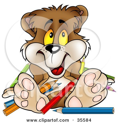 Clipart Illustration of a Clumsy Brown Bear In A Mess Of Colored Pencils by dero