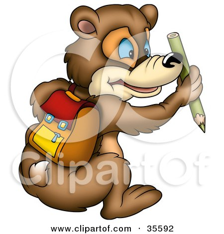 Blue Eyed Bear Wearing A Backpack And Holding A Green Colored Pencil Posters, Art Prints