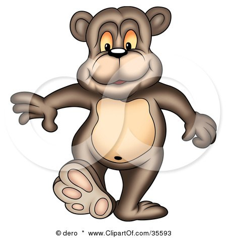 Clipart Illustration of a Happy Bear Taking A Step Forward by dero