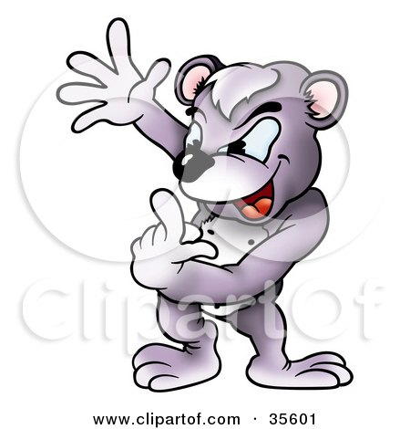 Clipart Illustration of a Frustrated Bear Counting On His Fingers by dero