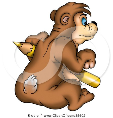 Clipart Illustration of a Bear Sitting And Holding A Large Yellow Colored Pencil by dero