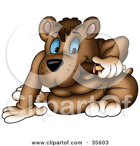 Clipart Illustration of a Blue Eyed Bear Nibbling On A Fudge Pop by dero