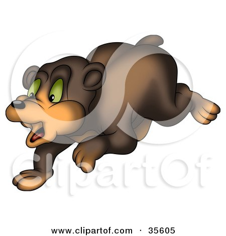 Clipart Illustration of a Scared Green Eyed Bear Running by dero