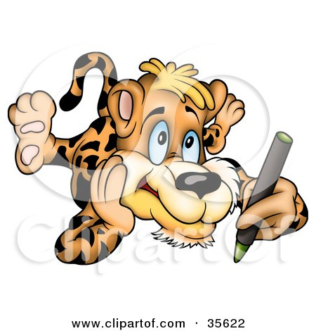 Clipart Illustration of an Artistic Leopard Laying On His Belly And Coloring With A Green Crayon by dero