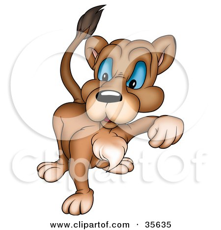 Clipart Illustration of a Mean Blue Eyed Lioness Walking Forward by dero