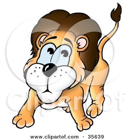 Clipart Illustration of a Scared or Nervous Little Lion by dero