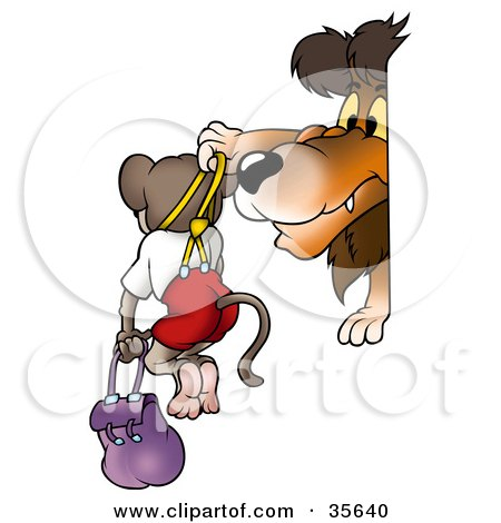 Clipart Illustration of a Mean Lion Bullying A Monkey, Holding Him Up By Suspenders by dero