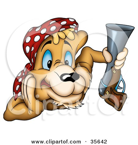 Clipart Illustration of an Alert Cougar Pirate Or Hunter Wearing A Bandana And Holding A Gun by dero