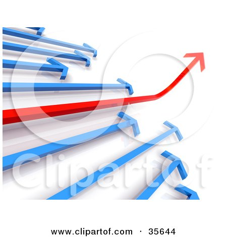 Clipart Illustration of a Financial Diagram Of Blue Arrows Following An Ascending Red Arrow by Tonis Pan