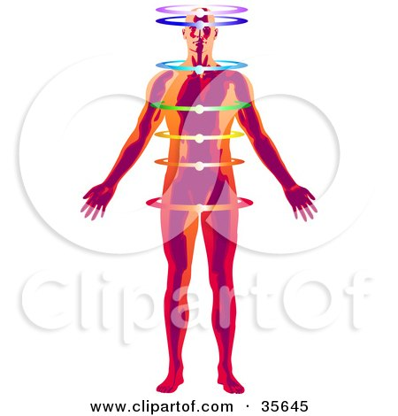 Clipart Illustration of a Red And Orange Man Meditating With Illuminated Rings And His Chakra Energy Centers Activated by Tonis Pan