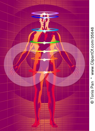 Clipart Illustration of a Red And Orange Man Meditating With Glowing Rings Chakras, On A Purple Grid Background by Tonis Pan