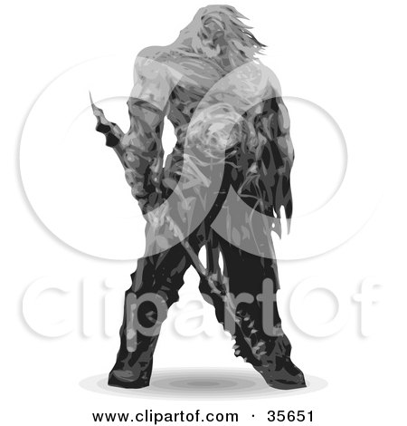 Clipart Illustration of a 3d Barbarian Warrior Carrying A Weapon by Tonis Pan
