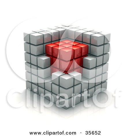 White Cubic Walls Around A Red Core In A Puzzle Cube Posters, Art Prints