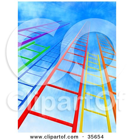 Colorful Purple, Green, Blue, Red, Yellow And Orange Ladders Leading Upwards Into A Bursting Blue Sky Posters, Art Prints