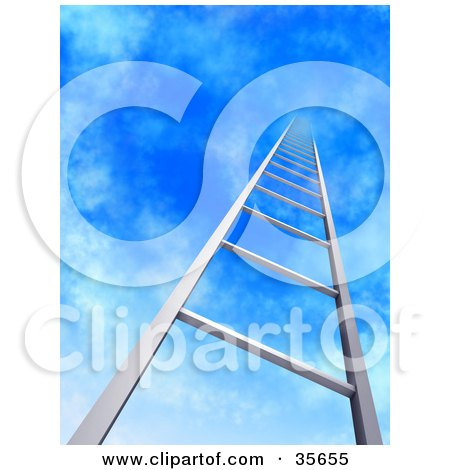 Clipart Illustration of a Metal Ladder Leading Upwards Into A Blue Sky With Light Clouds by Tonis Pan