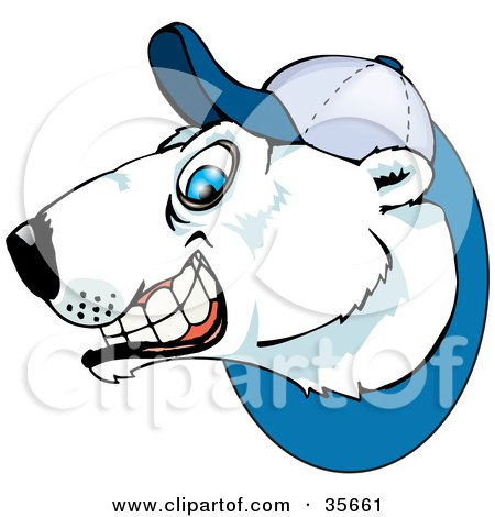 Clipart Illustration of a Grinning Polar Bear Wearing A Baseball Hat by Dennis Holmes Designs