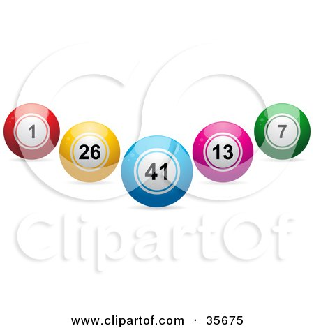 Clipart Illustration of Blue, Red, Yellow, Pink And Green Lottery Or Bingo Balls In The Shape Of A V by elaineitalia