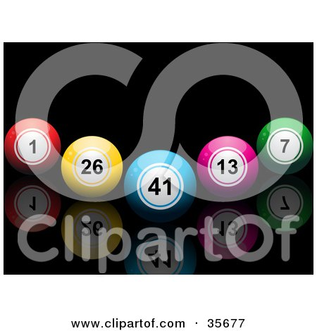 Clipart Illustration of a V Formation Of Colorful Bingo Or Lottery Balls On A Black Reflective Surface by elaineitalia