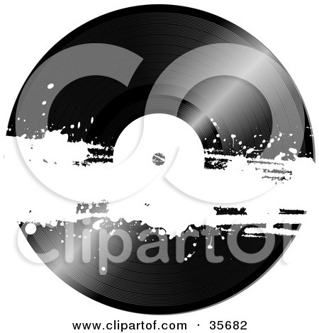 Clipart Illustration of a Black Vinyl Record With A White Grunge Bar Across It by elaineitalia