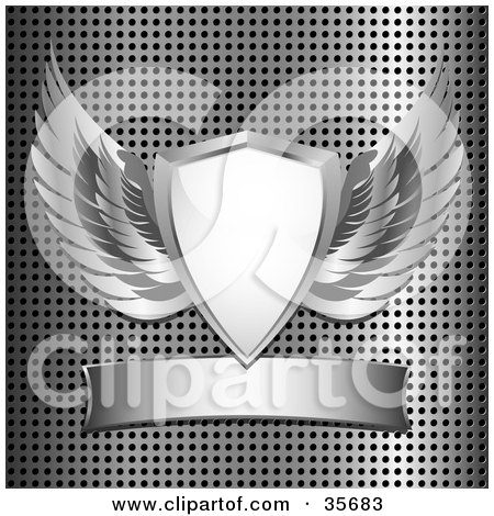 Clipart Illustration of a Heraldic Shield With Silver Wings, Over A Metal Background With A Blank Banner by elaineitalia