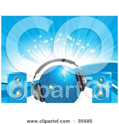 Clipart Illustration of a Blue Disco Ball With Headphones And Speakers, Over A Background Of Waves, Sparkles And Bursts by elaineitalia