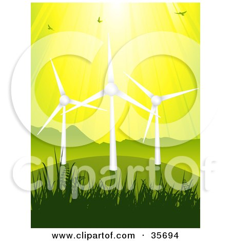 Clipart Illustration of Birds Flying In Sunshine Above Three Wind Turbines On A Green Grassy Hill, Against A Yellow Sky by elaineitalia