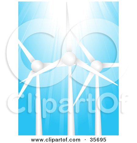 Bright Sunlight Shining Down On Three Wind Turbines Against A Blue Sky  Posters, Art Prints