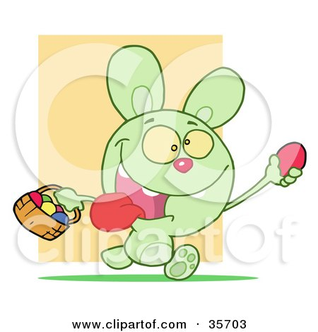 Clipart Illustration of a Hyper Green Bunny Rabbit With Its Tongue Hanging Out, Running And Holding Up An Egg And Carrying A Basket During An Easter Egg Hunt by Hit Toon