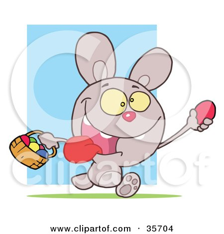 Clipart Illustration of a Hyper Purple Bunny Rabbit With Its Tongue Hanging Out, Running And Holding Up An Egg And Carrying A Basket During An Easter Egg Hunt by Hit Toon