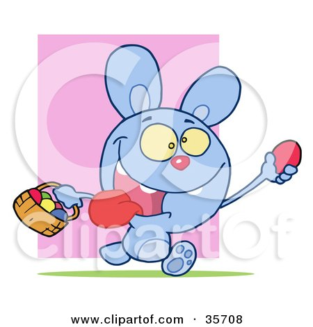 Clipart Illustration of a Hyper Blue Bunny Rabbit With Its Tongue Hanging Out, Running And Holding Up An Egg And Carrying A Basket During An Easter Egg Hunt by Hit Toon