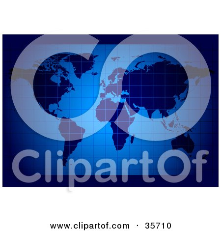 Clipart Illustration of a World Atlas Map Of Continents Over A Blue Grid Background by dero
