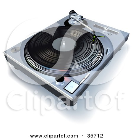 Clipart Illustration of a Vinyl Record Playing On A Turntable by dero