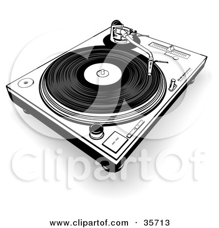Clipart Illustration of a Black And White Record Playing On A Turntable by dero