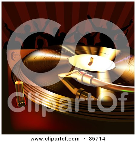 Clipart Illustration of Golden And Red Light Shining On A Vinyl Record Spinning On A Turntable, People Dancing In The Background by dero