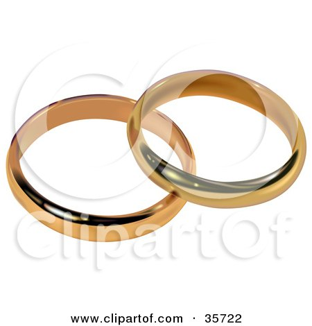 Clipart Illustration of a Golden Diamond Wedding Ring by dero 35715