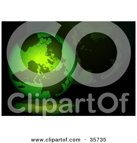 Clipart Illustration of a Green Grid Globe On A Black Background With Reflections by dero