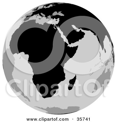 Clipart Illustration of a Gray And Black Globe Featuring The African Continent by dero