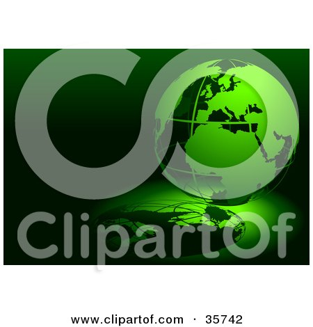 Clipart Illustration of a Green 3d Wire Globe On A Reflective Green And Black Background by dero