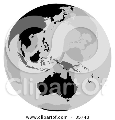 Clipart Illustration of a Gray And Black Globe Featuring The Australian Continent by dero
