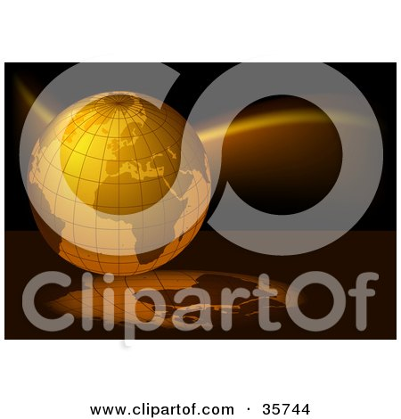 Clipart Illustration of an Orange Grid Globe On A Black Background With Reflections by dero