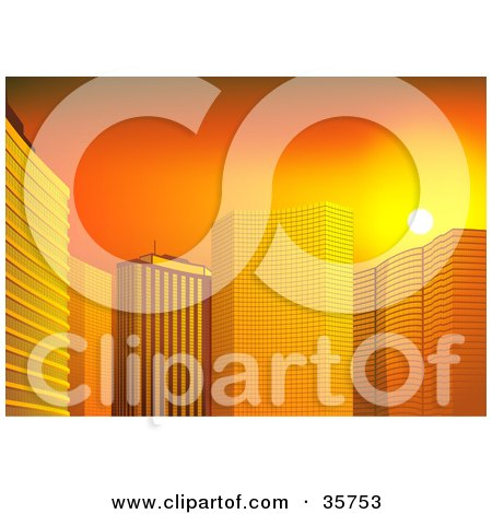 Clipart Illustration of Orange Sunset Light Reflecting Off Of Tall City Skyscrapers by dero