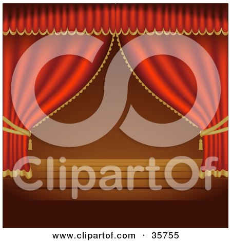Clipart Illustration of Red Stage Curtains Pulled To The Sides Over An Empty Wooden Stage by dero